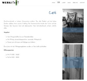 """Page """"café"""" du site web de la WerkStadt."""