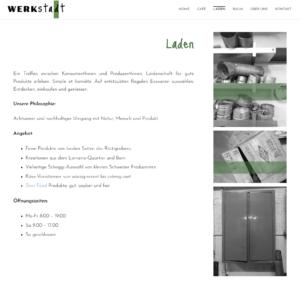 """Page """"Laden"""" (magasin) du site web de la WerkStadt."""