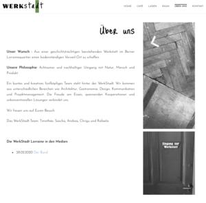 """Page """"über uns"""" (à propos) du site web de la WerkStadt."""