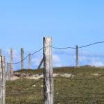 Barrière en bois et fil de fer sur une dune. Ciel bleu.
