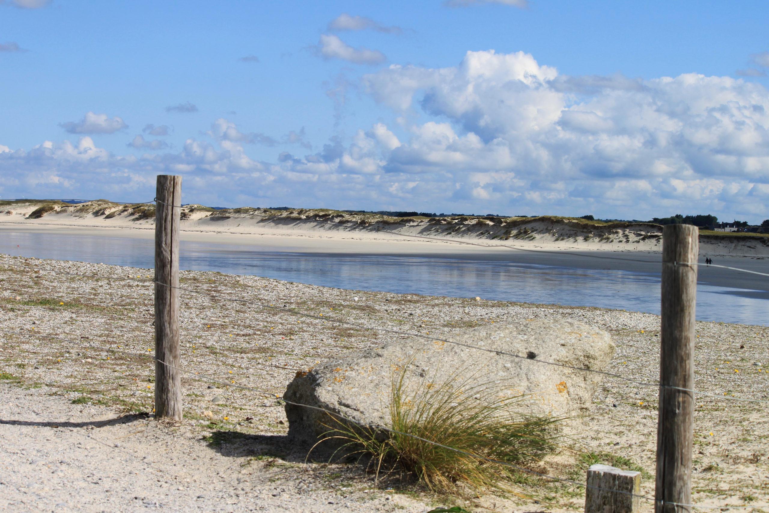 Barrière dans les dunes, avec mer et plage en arrière plan.